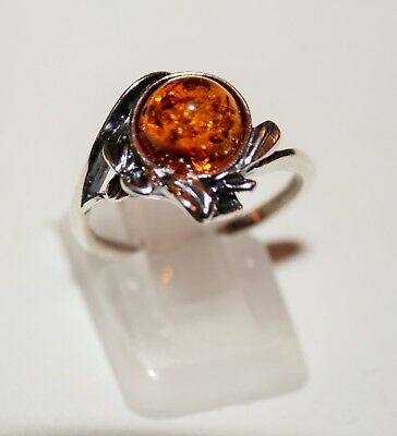 Gorgeous Sterling Silver Leaf and Baltic Amber Ring
