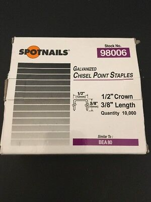 Spotnails 98006 80 Series Staples 3/8 Length x 1/2 Crown  BEA. Bostitch (10,000)