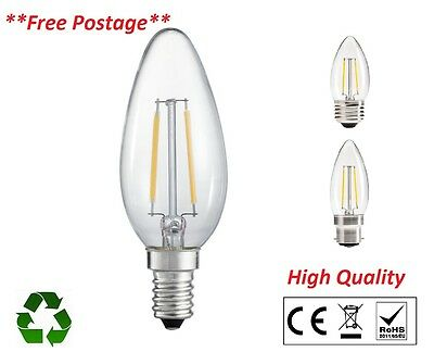 4W LED High Quality Filament Candle Lamps Bulbs  E14 E27 B22 B15 Uk Seller