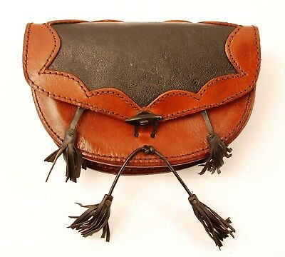 Medieval Renaissance Genuine Black and Brown Leather Pouch Bag with Belt Loops