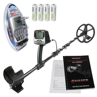 "Detech Chaser 14kHz VLF metal detector, 9"" Ultimate Search Coil & Ni-MH Charger"