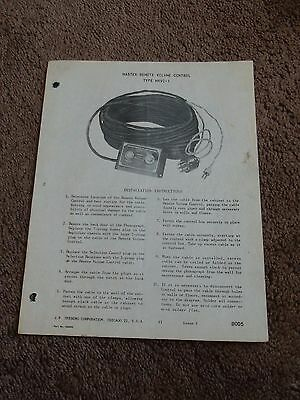 Seeburg  Master Remote Volume Control MRVC-1 Service Manual Sheet Parts List
