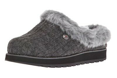 31204 Charcoal Bobs Skechers shoe Women Memory Foam Slipon Slipper FauxFur Clog