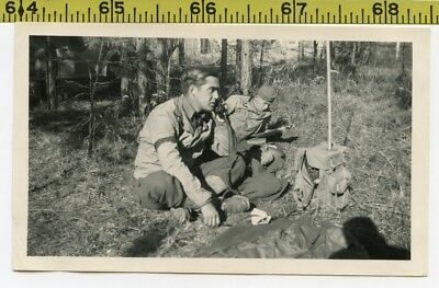 Vintage WWII photo / Soldier Talks to Wife on Army GI Phone & Buddy Reads Comics