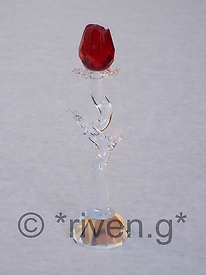 SINGLE STEM RED ROSE@AUSTRIAN CRYSTAL@Glass@Unique VALENTINES@CUT Crystal Gift