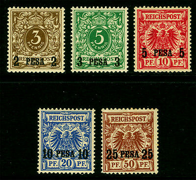 German Colonies - EAST AFRICA 1893  SURCHARGED set Sc# 1-5  mint  MH