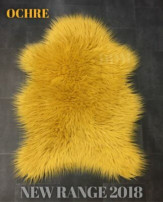 New Ochre Colour  Thick Mongolian Fluffy Faux Fur  Shape Rug 70Cmx 100Cm
