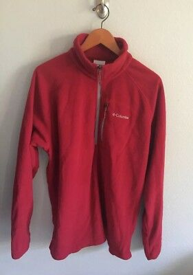 Columbia Men's Large Fleece Pull Over Long Sleeve Jacket Red - Size XL