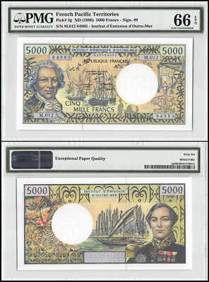 French Pacific Territories 5,000 (5000) Francs, ND 1996, P-3g, PMG 66