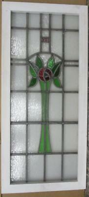 "LARGE OLD ENGLISH LEADED STAINED GLASS WINDOW Beautiful Floral 40.75"" x 19"""