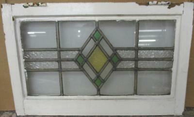 "MID SIZED OLD ENGLISH LEADED STAINED GLASS WINDOW Pretty Diamond 23.75"" x 15"""
