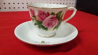 Antique Tea Cup & Saucer Pink Rose Made In China - Old - Blemish