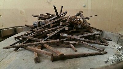 "3.0"" Old square iron nails 19th century 100cnt"
