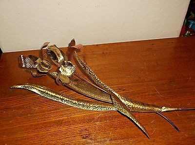 Vintage LILIES LILY FLOWERS  RETRO Wall Decor Metal Copper Brass Home Interiors