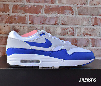Nike Air Max 1 Anniversary White Game Royal Neutral Grey 908375-102 Size
