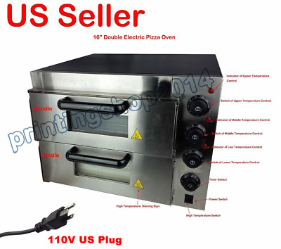 "New 110V 16"" Double Electric Pizza Oven Commercial Ceramic Stone"