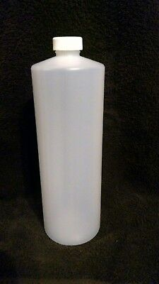 NEW LOT (4)-Cylinder 32 oz Natural White Plastic Bottles w Screw on Cap HDPE