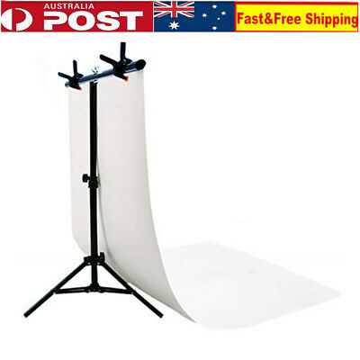 Adjustable Photography Support Stand White PVC Backdrop Background 3 Clips Set