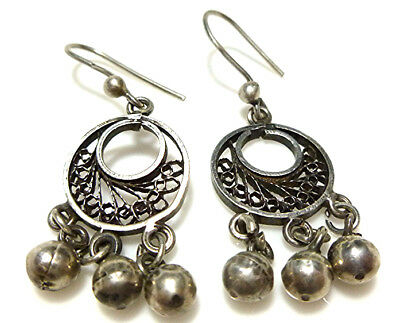 European Sterling Silver Foreign Hallmark Dangle Ball Filigree Pierced Earrings
