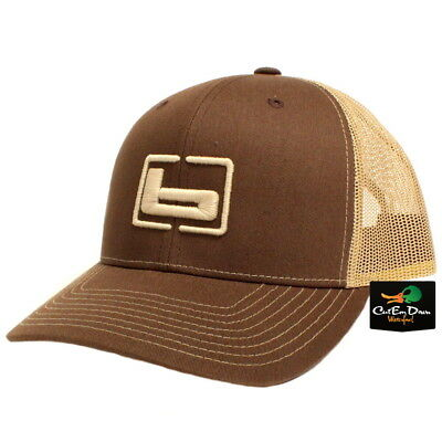 cd4aed4229a NEW BANDED TRUCKER CAP MESH BACK HAT BROWN AND KHAKI W
