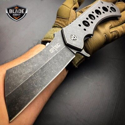 """12"""" GIANT TACTICAL Assisted Open Pocket Knife CLEAVER FOLDING Blade STONEWASH"""