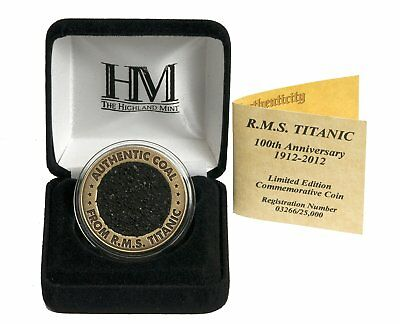 RMS TITANIC LIMITED EDITION 100TH ANNIVERSARY COMMEMORATIVE COAL COIN by 401