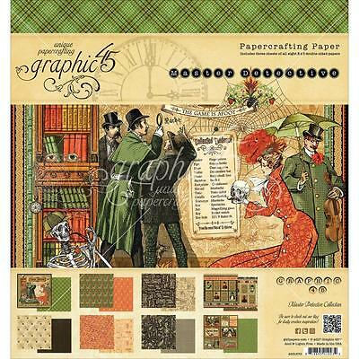 "Graphic45 Master Detective Double-Sided Paper Pad 8""X8"" 24/ Pkg Motivblock 20 cm"