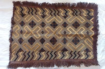 African Cloth Kuba Raffia Hand Woven Rectangle Fringed Velvet Wall Decoration #9