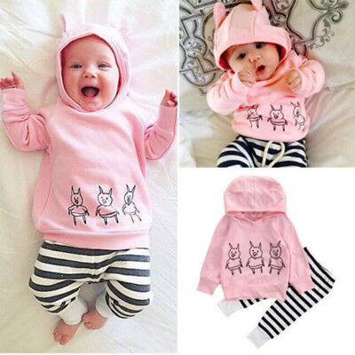 Infant Newborn Baby Kids Girls Clothes Floral Hooded Tops+Long Pants Outfits Set
