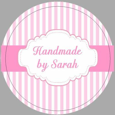 24 x 40mm personalised stickers round frame pink stripes handmade labels