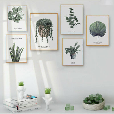 Green Plant Leaf Canvas Nordic Poster Wall Art Print Picture Modern Home Decor