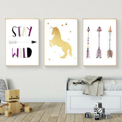 Unicorn Arrow Wall Art Canvas Poster Nursery Quote Prints Kids Bedroom Decor