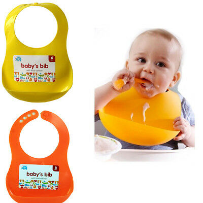Cute Plastic Baby Feeding Bibs With Food Catcher Pocket Unisex Waterproof Bib