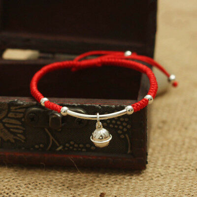Real 925 Sterling Silver Bell Bracelet Amulet Handmade Lucky Red Rope Bangle Jew