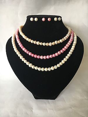 A Choice of Three Genuine Pearl & 925 Silver Necklace, Earrings & Bracelet Sets