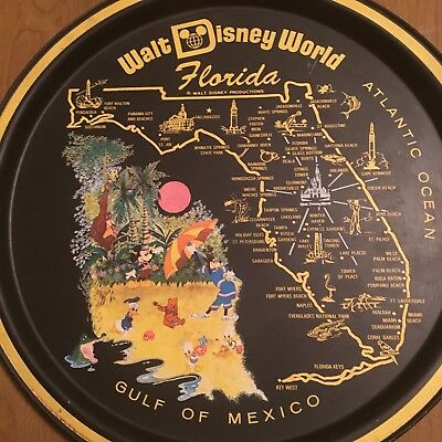 Vintage 70's Disney World Florida Gulf of Mexico Serving Drink Tray Mickey Goofy