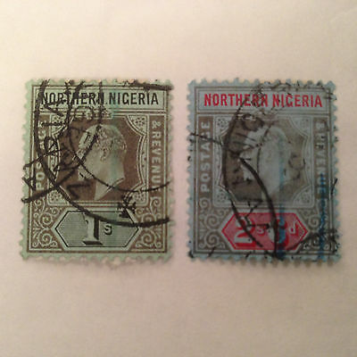 Northern Nigeria Stamps SC#35-36, King Edward VII series, Used, Slightly Faded