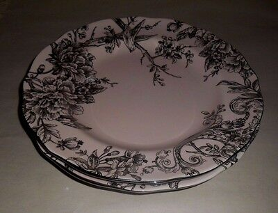 4 Pink u0026 Silver 222 Fifth Adelaide Toile Dinner Plates Metalic EASTER SPRING & 4 Pink u0026 Silver 222 Fifth Adelaide Toile Dinner Plates Metalic ...