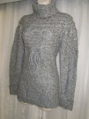 MOTHERHOOD MATERNITY Womens S Gray Turtle Neck Cable Knit Semi Sheer Sweater Top