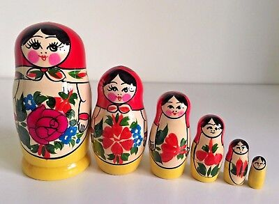 6 RUSSIAN STACKING NESTING TRADITIONAL MATRYOSHKA DOLLS/SEMENOVO/13cm GREAT GIFT