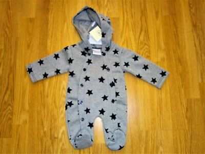 Baby Boy Girl clothes  Hooded sleepsuit all in one Romper Grey Stars 0-9 months