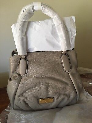 NWT MARC by MARC JACOBS 'New Q Fran' Leather Shoulder Bag Tote Cement $448 MSRP