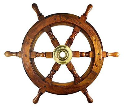 Ship Wheel Ships Steering Boat Pirate Captains Nautical Decor Wooden 18 inch Dia