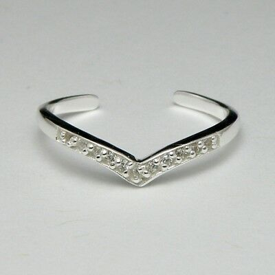 Solid 925 Sterling Silver Toe Ring Heart with Cubic Zirconia Ladies New Gift Bag