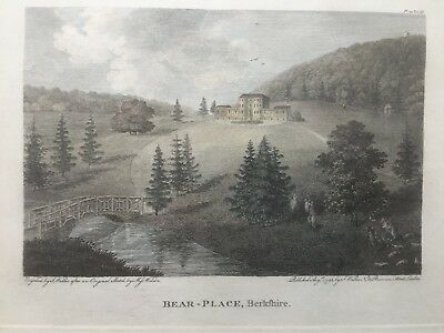 1796 Antique Print;  View of Bear Place, Hare Hatch, near Wargrave, Berkshire