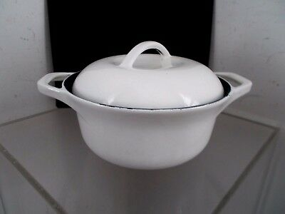 Vtg CLUB Colorcast WHITE Cast Iron Dutch Oven Sauce Pan & Lid WATERFORD, Ireland