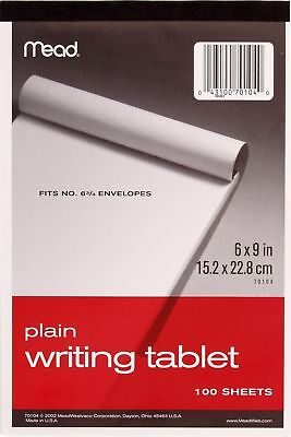 "6 - Pack MeadWestvaco 70104 6"" X 9"" Plain Writing Tablet 100 Count"