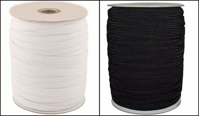 100 METER HIGH QUALITY ELASTIC 1/2 INCH 12MM WIDE, AVAILABLE IN BLACK and WHITE