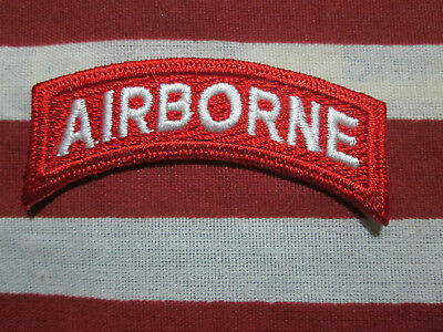 Us Army Airborne Tab Red And White C/E Iron On Type