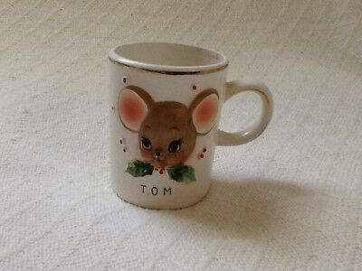 VINTAGE KID'S TOM MOUSE MUG - 1956 - EXCELLENT condition - Christmas